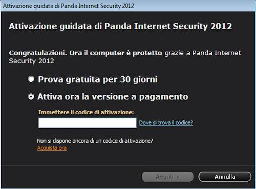 Panda Internet Security 2012: Pannello attivazione guidata