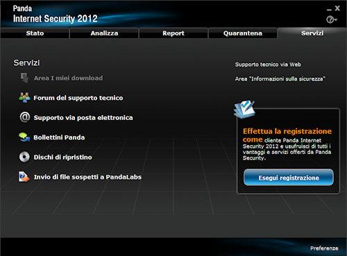 Panda Internet Security 2012: Scheda di accesso ai servizi di supporto