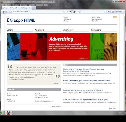 Firefox 5: Esempio di interfaccia utente e visualizzazione pagina web