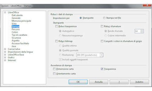 LibreOffice: Pannello opzioni di configurazione