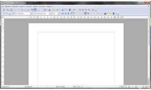 LibreOffice: Finestra principale modulo Writer