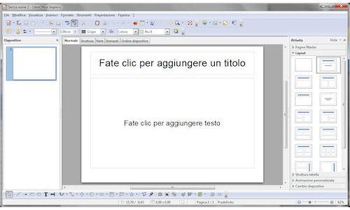 LibreOffice: Finestra principale del modulo Impress
