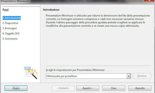 LibreOffice: Utilità di compressione presentazioni