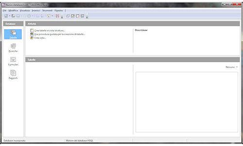LibreOffice: Interfaccia modulo di gestione archivi