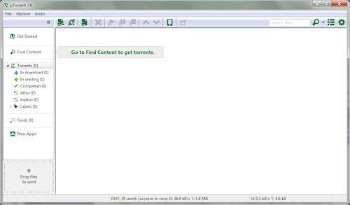 uTorrent 3.0: Finestra principale