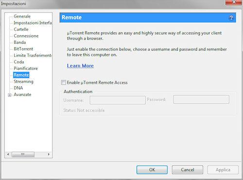 uTorrent 3.0: Finestra impostazioni