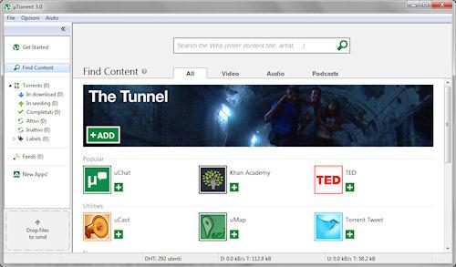 uTorrent 3.0: Finestra ricerca contenuti e app