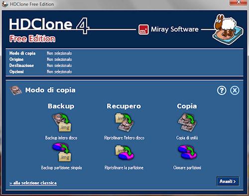 HDClone: Interfaccia utente modalità categoria