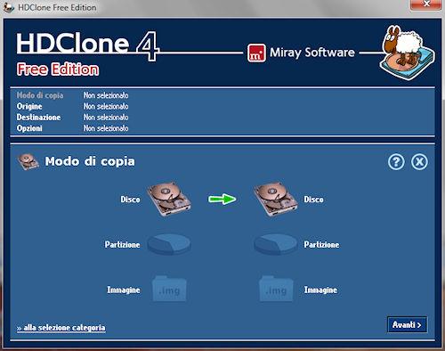 HDClone: Interfaccia utente modalità classica