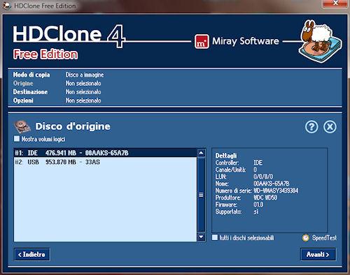 HDClone: Finestra selezione disco origine