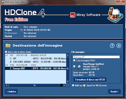 HDClone: Finestra selezione percorso destinazione
