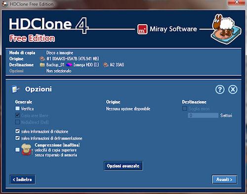 HDClone: Finestra opzioni base