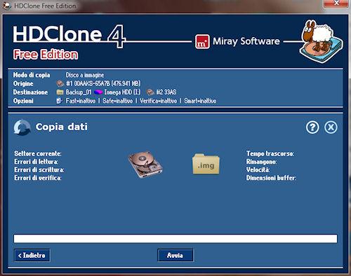 HDClone: Finestra copia dati