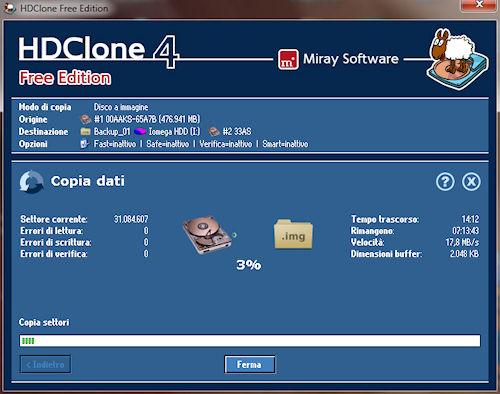 HDClone: Avvio copia