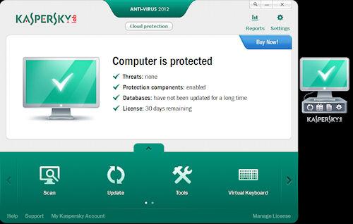 Kaspersky Anti-Virus 2012: Interfaccia utente e widget