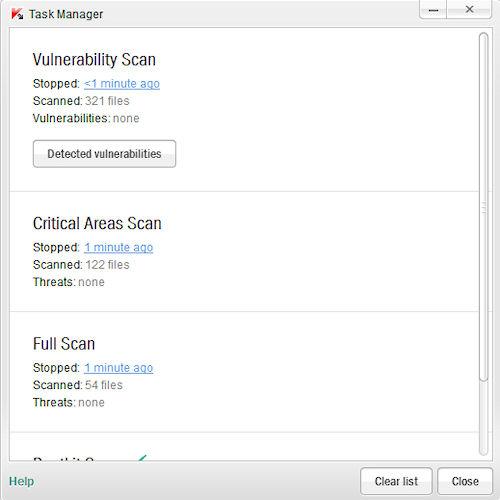 Kaspersky Anti-Virus 2012: Esempio di Task Manager
