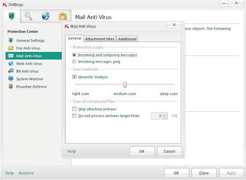 Kaspersky Anti-Virus 2012: Finestra impostazioni