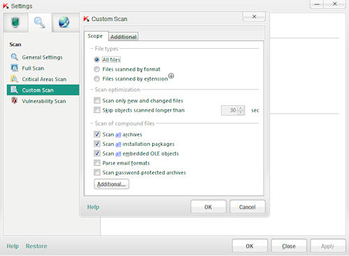 Kaspersky Anti-Virus 2012: Pannello filtri scansione