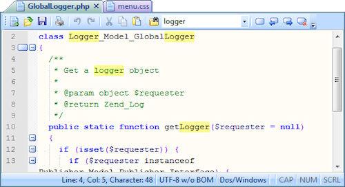 SmartFTP: Esempio di codice gestito con l'editor integrato
