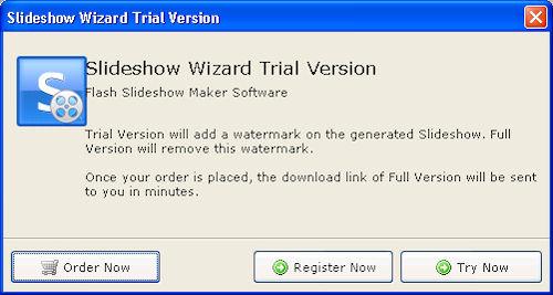 Flash Slideshow Wizard: Pannello di registrazione o selezione versione di prova