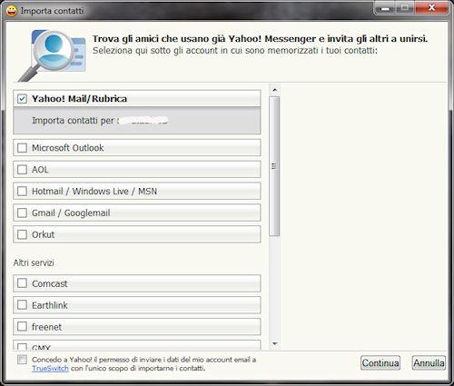 Yahoo Messsenger 2011: Procedura di importazione contatti