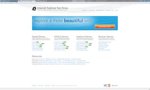 Pagina iniziale Internet Explorer Test Drive