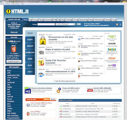 Internet Explorer 10 Platform Preview 2: Esempio di pagina web