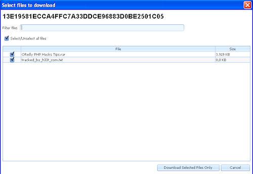 FrostWire: Pannello di selezionata mirata dei file contenuti in un pacchetto