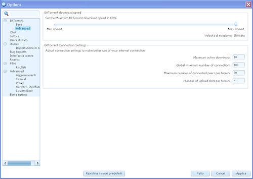 FrostWire: Pannello di configurazione delle opzioni principali