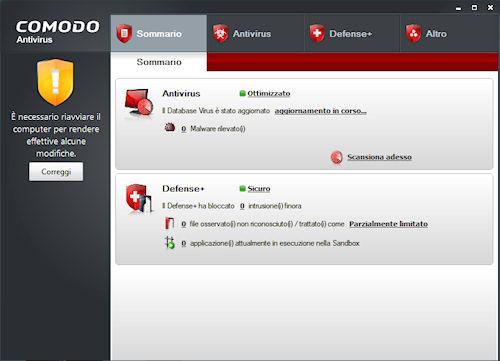 Comodo Antivirus: Interfaccia utente
