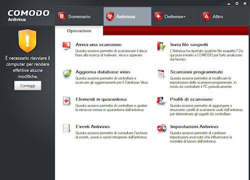 Comodo Antivirus: Scheda Antivirus
