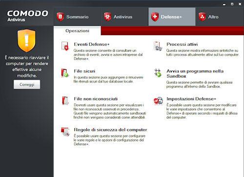 Comodo Antivirus: Scheda Defense+
