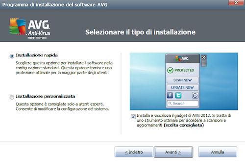 AVG Anti-Virus Free Edition 2012: Installazione
