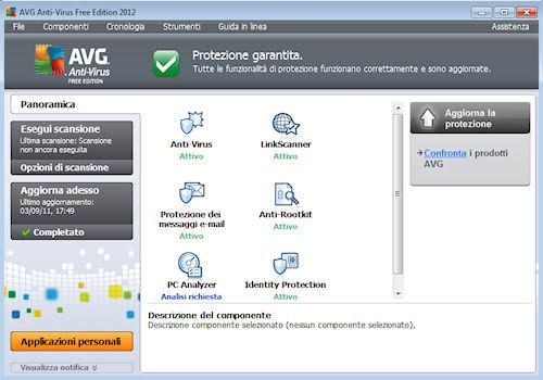 AVG Anti-Virus Free Edition 2012: Sezione Panoramica della finestra principale