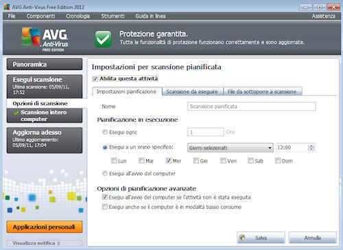 AVG Anti-Virus Free Edition 2012: Esempio di impostazione della scansione pianificata