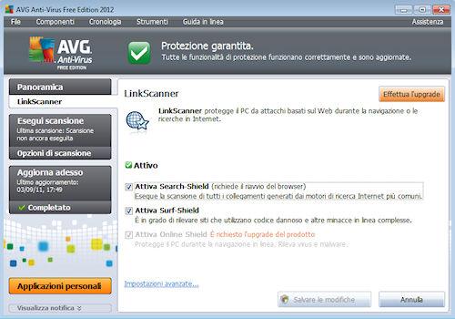 AVG Anti-Virus Free Edition 2012: Componente LinkScanner per proteggere ricerche e navigazione web