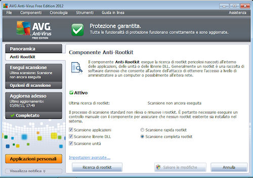 AVG Anti-Virus Free Edition 2012: Sezione relativa al componente Anti-Rootkit