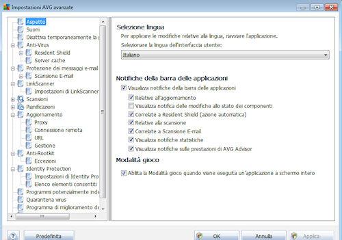 AVG Anti-Virus Free Edition 2012: Pannello di configurazione delle impostazioni avanzate