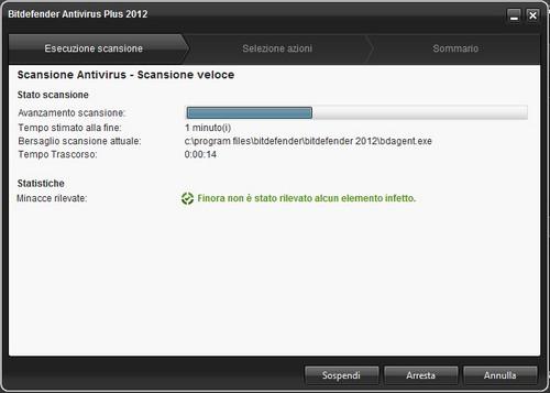 BitDefender Antivirus Plus 2012: Esempio di scansione veloce