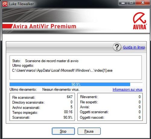 Avira AntiVir Premium: Esempio di attività di scansione iniziale