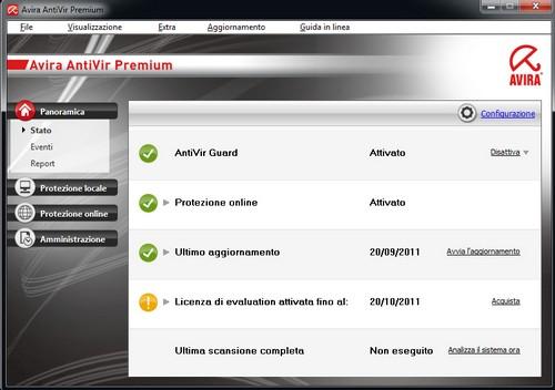 Avira AntiVir Premium: Interfaccia utente