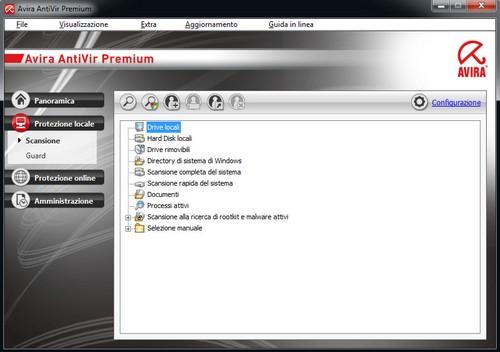 Avira AntiVir Premium: Pannello di protezione locale