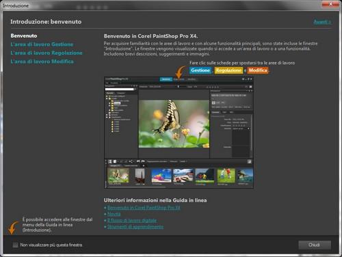 PaintShop Pro X4: Finestra di introduzione all'applicativo