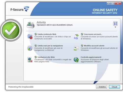 Interfaccia utente F-Secure Internet Security 2012