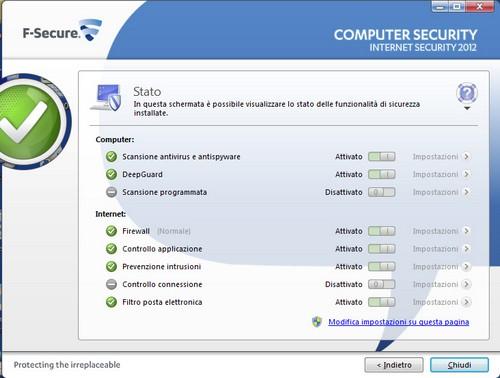 F-Secure Internet Security 2012: Schermata stato funzionalità di sicurezza installate