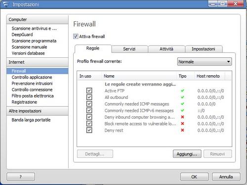 F-Secure Internet Security 2012: Pannello impostazioni