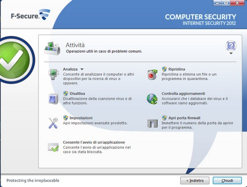 F-Secure Internet Security 2012: Sezione attività principali