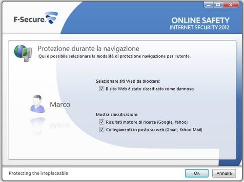 F-Secure Internet Security 2012: Esempio di protezione utente durante la navigazione web