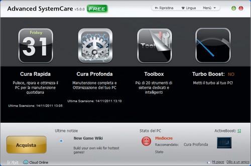 Advanced SystemCare 5: Finestra principale