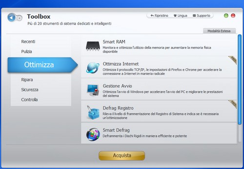 Advanced SystemCare 5: Sezione Ottimizza del modulo di utilità aggiuntive Toolbox